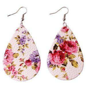 Floral Faux-Leather Teardrop Earrings